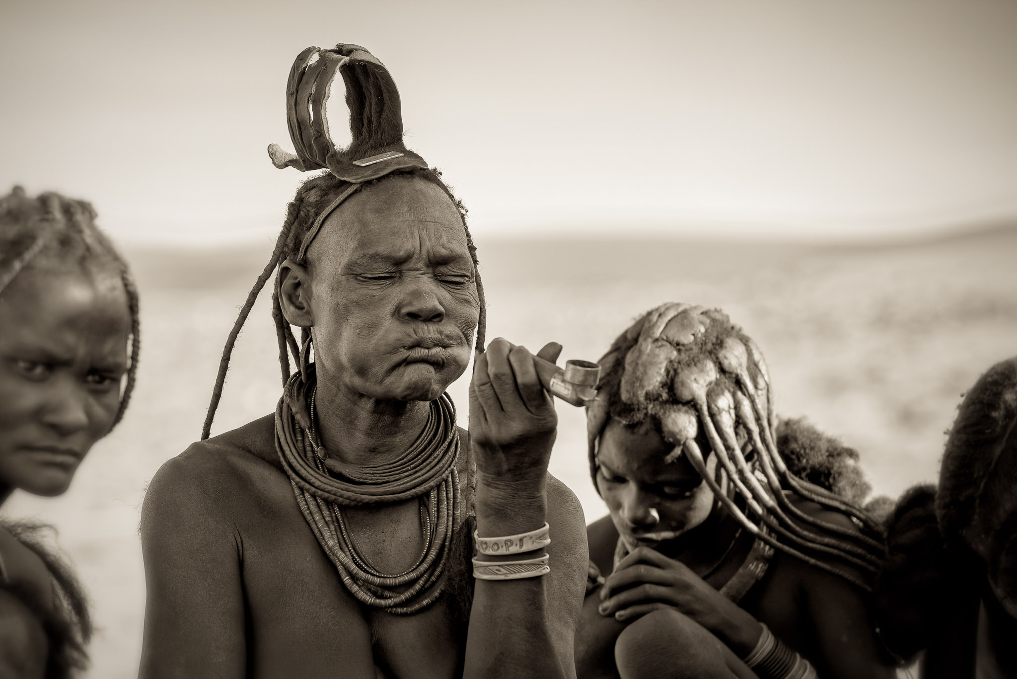 Himba Woman Smoking Pipe Monochrome