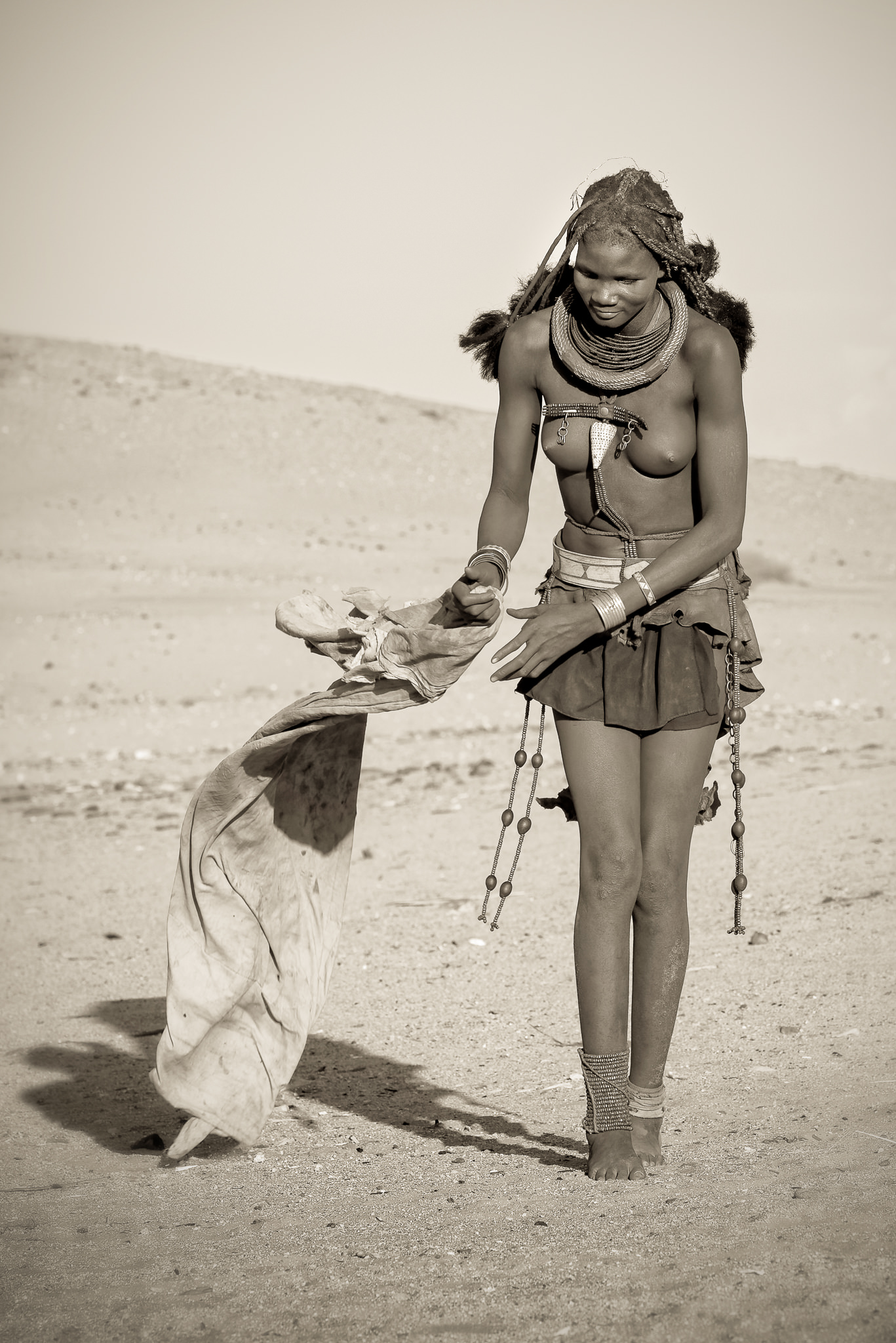 Young Himba Woman Monochrome